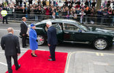 The Queen being seen off Cdn house by Gordon Campbell 2015